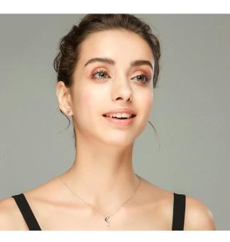 niceEshopRound Cubic Anti Allergic Crystal Ear Stud Earrings (6MM,1 Pair,White) - 2
