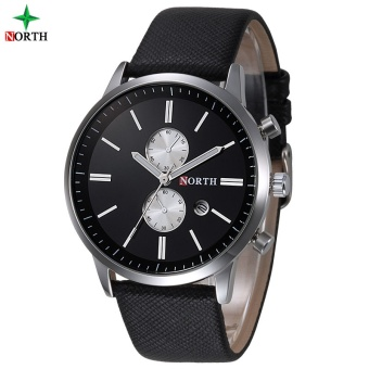 NORTH Men Business Watch Famous Brand Design Male Clock 30MWaterproof Casual Genuine Leather Quartz Fashion Casual Watch Men6008LBlackGold - intl Price Philippines