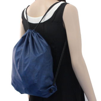 Nylon Drawstring Cinch Sack Sport Travel Outdoor Backpack Bags Dark Blue - 3