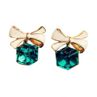 OEM 1Pair Women's Stud Earrings Crystal Bowknot Ear Studs (Green)