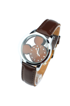 OEM 9687 Women's Quartz Watches Mouse Head Dial Hollow (Brown)