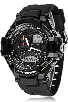 OEM Men's Black Rubber Strap Watch
