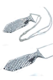 OEM Necktie Tie Shaped Necklace Silver