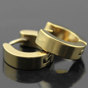 OH 1 Pair Unique Cool Men's Stainless Steel Hoop Piercing Ear Earring Studs Gold