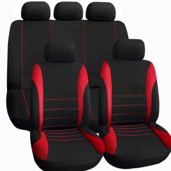 OH 11 pcs Full Seat Cover Set Car Seat Cover Low Front Back Set Black Red Line