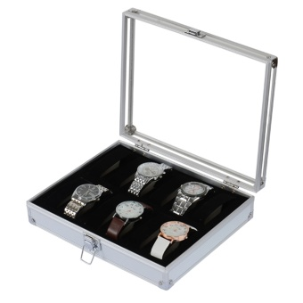 OH 12 Grid Slots Jewelry Watches Display Storage Box Case Aluminium Square NEW