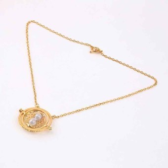 OH Harry Potter Hermione Granger Rotating Time Turner Necklace Gold Hourglass