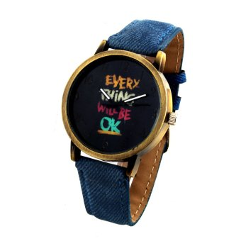 OK Women's Gold/Blue Denim Strap Watch 8815