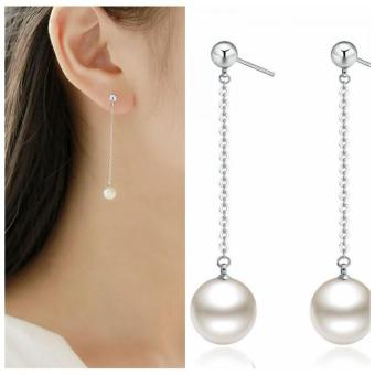 Okdeals 1 Pair Elegant Women Silver Plated Freshwater Pearl Long Drop/Dangle Earrings Jewelry New Fashion Gift For Women