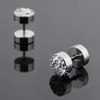 Okdeals 1 Pair Men Cool Crystal Barbell Punk Stainless Steel Ear Studs Earrings Silver