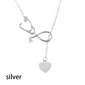 Okdeals 1 Pc 2017 Newest Medical Doctor Nurse Heart Stethoscope Cardiogram Pendant Chain Necklace Jewelry Pendant Necklace - 2