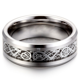 Okdeals 8MM Silver Dragon Stainless Steel Men Wedding Band Ring SZ 8-12 Exquisite