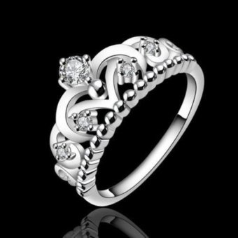 Okdeals Fashion 925 Silver Plated Pretty Crown Lady Crystal RingSilver Price Philippines