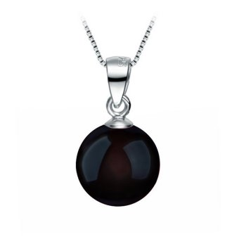 Okdeals Fashion 925 Solid Sterling silver Necklace 8mm NaturalAgate bead Pendant Black