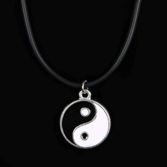 Okdeals Leather Cord Choker Necklace Pendant Silver YinYang