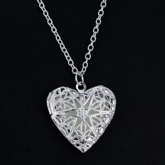 Okdeals Luminous Glow In The Dark Locket Jewelry Silver