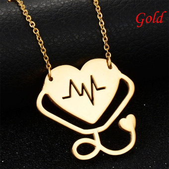 Okdeals Newest Medical Doctor Nurse Hollow Heart Stethoscope Cardiogram Pendant Chain Necklace Jewelry Pendant Necklace