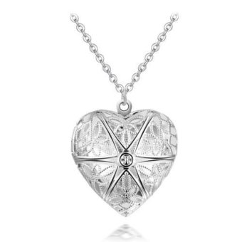 Okdeals Pendant Lover Locket Chain Necklace silver