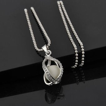 Okdeals Teardrop Glow in Dark Pendant Necklace Silver