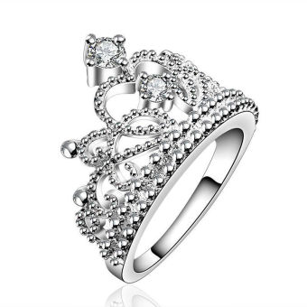 Okdeals Women Princess Wedding Band Zircon Crown Ring Silver - 3