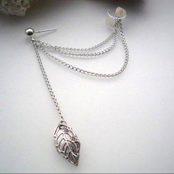 Okdeals Womens Stylish Punk Leaf Chain Tassel Dangle Ear Cuff Earring(Silver)
