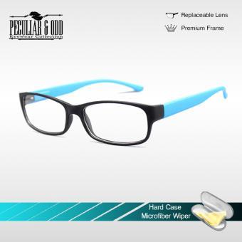 Optical Rectangular Lightweigth Eyeglass 2087_BlackBlue Replaceable Lenses with Spring Hinges_Unisex