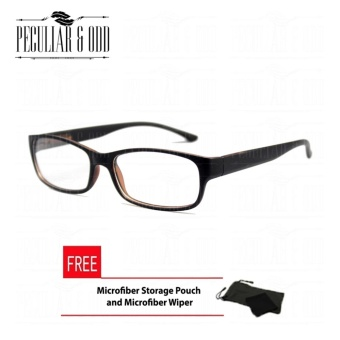 Optical Rectangular Lightweigth Eyeglass 2087_BlackBrown Replaceable Lenses with Spring Hinges_Unisex