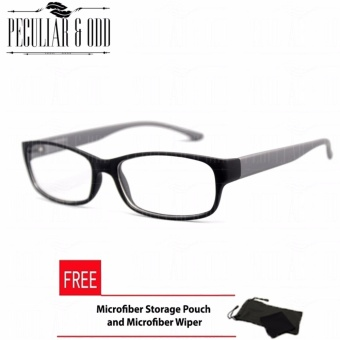 Optical Rectangular Lightweigth Eyeglass 2087_BlackGrey Replaceable Lenses with Spring Hinges_Unisex