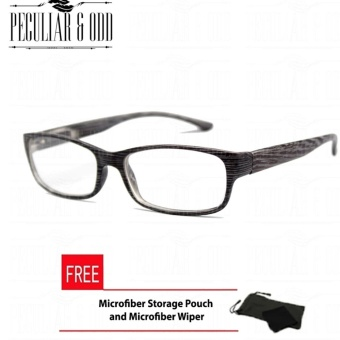 Optical Rectangular Lightweigth Eyeglass 2087_BlackWood Replaceable Lenses with Spring Hinges_Unisex