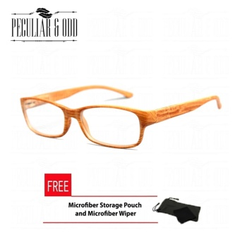 Optical Rectangular Lightweigth Eyeglass 2087_BrownWood Replaceable Lenses with Spring Hinges_Unisex