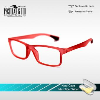 Optical Rubberized Frame XQY7926_DarkRed Rectangular Computer Eyeglasses Anti Glare Replaceable Lens with Rubberized Template Stopper Unisex