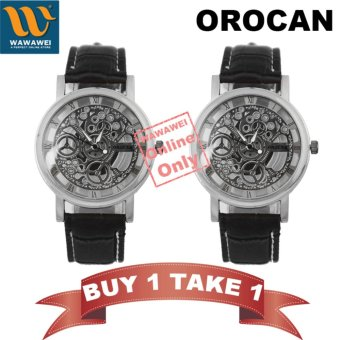 Orocan Fashionable Double Transparent Non Mechanical Men's Watch(Silver/Black) BUY 1 TAKE 1