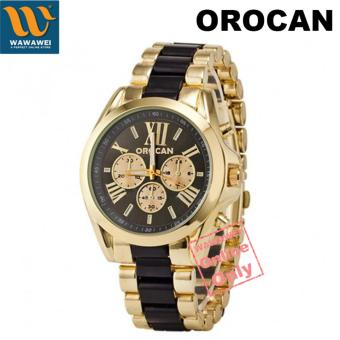 Orocan Three Eyes Strip Women's Two-Tone Stainless Steel StrapWatch (Black/Gold)