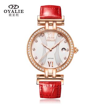 Ou Yali fashion women's genuine leather belt quartz watch crystal watch