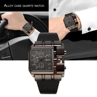 OULM Men Male Unique Leather Strap Square Alloy Case Quartz Wrist Watch Black - intl