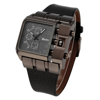 OULM Men Male Unique Leather Strap Square Alloy Case Quartz Wrist Watch Black - intl - 3