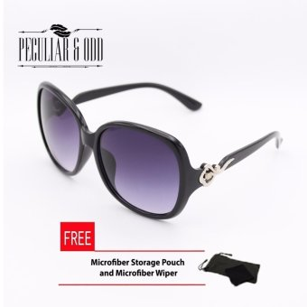 Oversized Sunglasses with Metallic Floral Concept-Black