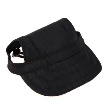Oxford Canvas Pet Dog Baseball Cap Sun Hat with with Ear Holes Black Denim(Black)-M - intl
