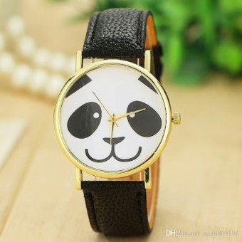Panda Design Faux Leather Stap Watch- Black Price Philippines