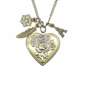 Patrick Lovebird Snowflake Feather Heart Locket Paris Eiffel Tower Long Necklace (Antique Bronze)