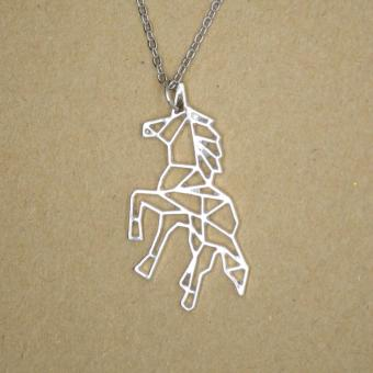 Patrick Lovebird Unicorn Origami Long Necklace (Silver Tone) - 3