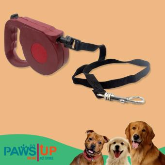 Paws UP 4.7 Meters Long Automatic Retractable Dog Cat Leash RoundString Adjustable Rope Pet Dog/Cat Extending Leash Neck Chain LeadStrap (Red)