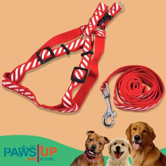 Paw's UP durable Adjustable Nylon Pet Dog Collar leash Harness Rope(Red)