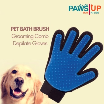 PAWS UP Pet Bath Brush Grooming Comb Rubber Depilate Gloves for Dogs