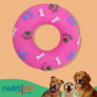Paws UP Rubber Paw Prints and Bones Doughnut Ring Squeaky SqueakerDog Chew Toy (pink) Price Philippines