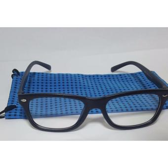 PC TV Anti Radiation And Fatigue Non Prescription Square Eye Glasses in Blue Pouch (black)