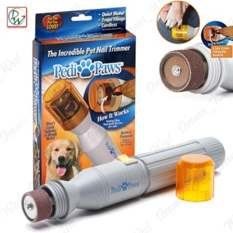 Pedi Paws Pet Dogs Cats Electric Nail Trimmer Grooming Clipper (Gray/Orange)