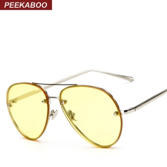 Peekaboo Aviator Sunglasses Clear Tinted Lens Cheap Fashion Ocean Eyewear Transparent Yellow Pink Green Metal Frame Stylish Sun Glasses Women Men Sun Shades UV400 (Clear Yellow Lens) - intl