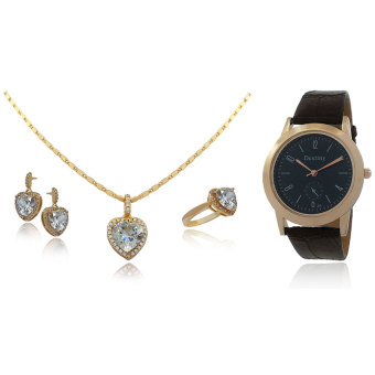 Persian Princess Leilah Heart Stones Jewelry Set Necklace Ring Earrings WITH BUNDLE Destiny Watch (White/Gold)