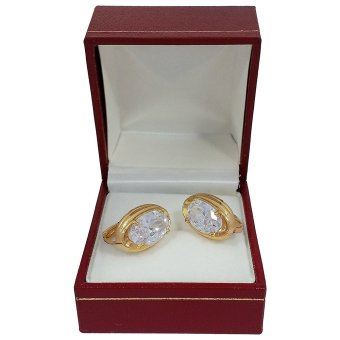 Persian Princess Marina Yellow Gold Cubic Zirconia Hoop Earrings (White/Gold)